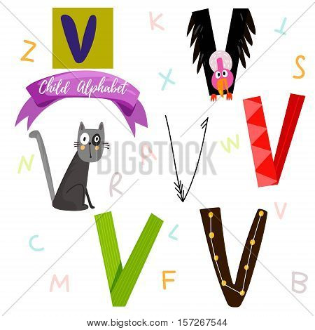 Bright Alphabet Set In Vector.v Letter-stylish 6 Hand Drawn Letters In Different Designs.cartoon Abs