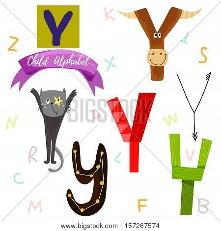 Bright Alphabet Set In Vector.y Letter-stylish 6 Hand Drawn Letters In Different Designs.cartoon Abs