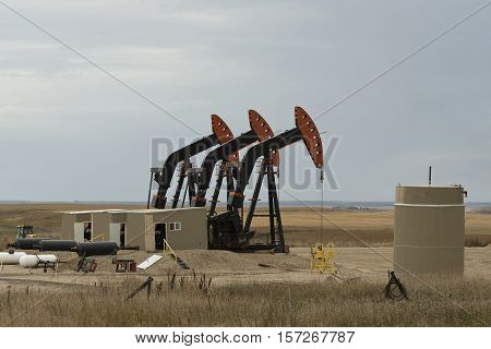 A group of active oil wells in North Dakota