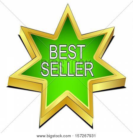 green Bestseller star button - 3D illustration