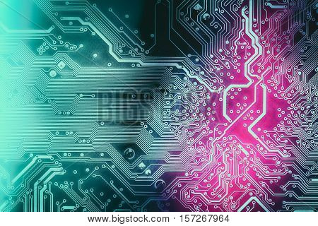 Detail Of Printed Circuit Board, Tint Into Dark Green And Violet