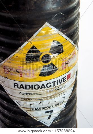 Cylinder shape old container of Radioactive material