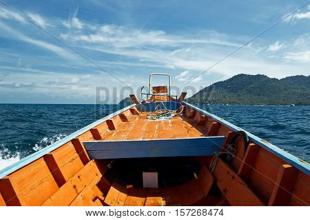 Thailand longtail boat on the sea. Summer landscape.