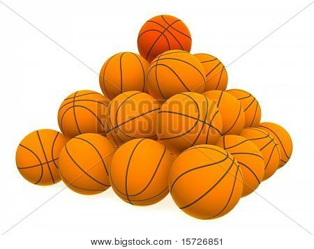 Pyramid from basketball balls - isolated on white