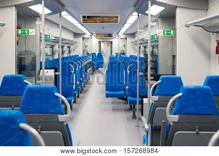 Interior high-speed electric train in a Moscow, Russia