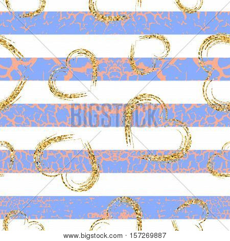 Gold grunge hearts craquelure stripes seamless pattern. Golden glitter confetti. White pink blue background. Love Valentine day wedding design card wallpaper wrapping. Vector Illustration