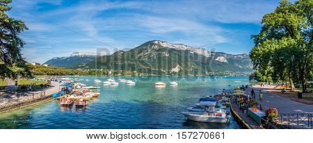ANNECY,FRANCE - SEPTEMBER 2,2016 - Panoramic view at the Lake Annecy in France. Lake Annecy is a perialpine lake in Haute Savoie in France. It is the third largest lake in France.