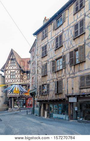THIERS,FRANCE - SEPTEMBER 2,2016 - Half Timbered houses in the streets of Thiers. Thiers is a commune in the Puy de Dome department in Auvergne in central France.