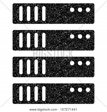 Server grainy textured icon for overlay watermark stamps. Flat symbol with scratched texture. Dotted vector black ink rubber seal stamp with grunge design on a white background.