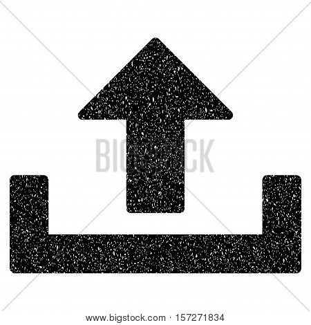 Upload grainy textured icon for overlay watermark stamps. Flat symbol with unclean texture. Dotted vector black ink rubber seal stamp with grunge design on a white background.