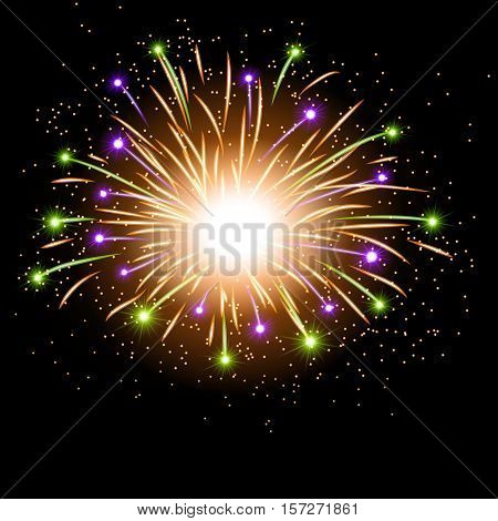 Firework bursting sparkle background. Colorful night fire beautiful explosion for celebration holiday Christmas New Year birthday. Symbol festive carnival anniversary. Vector illustration