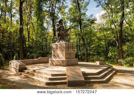 Kiev Ukraine - September 28 2014: Monument to Kazakh poet Zhambyl Zhabayev in Kyiv Ukraine