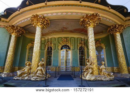 Potsdam Germany - August 27 2016: Chinese house in Sanssouci Park famous landmark of Potsdam summer time