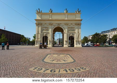 Potsdam Germany - August 27 2016: The Brandenburger Gate on the main square in Potsdam summer time