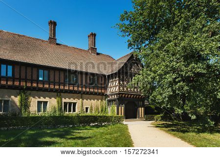 Potsdam Germany August 27 2016: View of the Cecilienhof Palace in Potsdam in summer