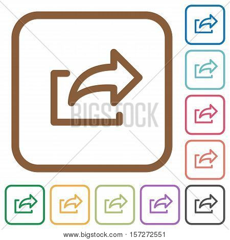 Export simple icons in color rounded square frames on white background