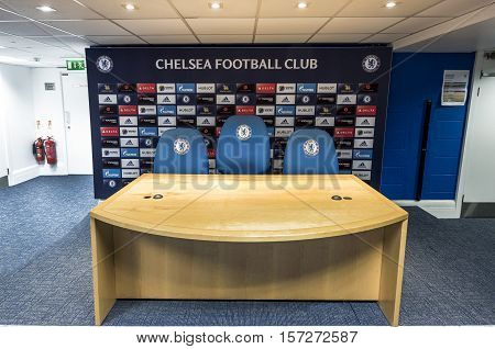 London, the UK - May 2016: In the press room at Stamford Bridge stadium - the official playground  of FC Chelsea