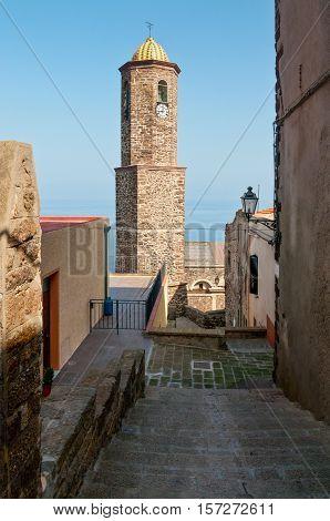 Sant Antonio abate church bell tower in Castelsardo Sardinia Italy