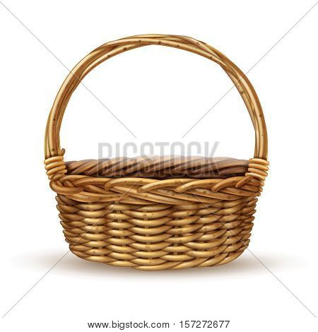 Traditional country style willow peasant basket with handle close-up side view with shadow realistic vector illustration