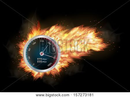 a internet speed test meter with burning fire