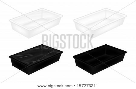 a White and black polystyrene packaging mockup