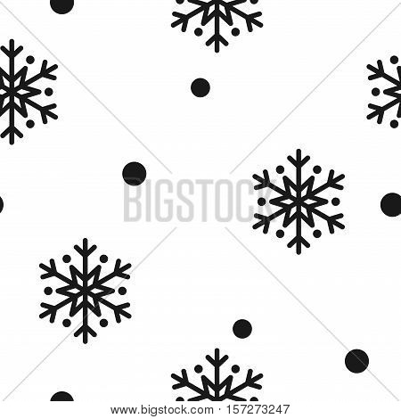 Snowflake simple seamless pattern. Black snow on white background. Abstract wallpaper wrapping decoration. Symbol of winter Merry Christmas holiday Happy New Year celebration Vector illustration