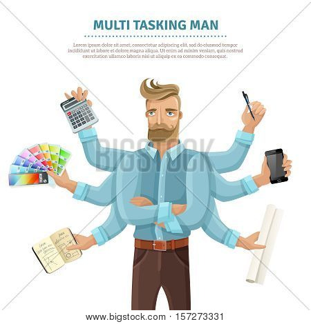 Multitasking flat informative poster with text and eight-armed young man reading mailing writing simultaneously vector illustration