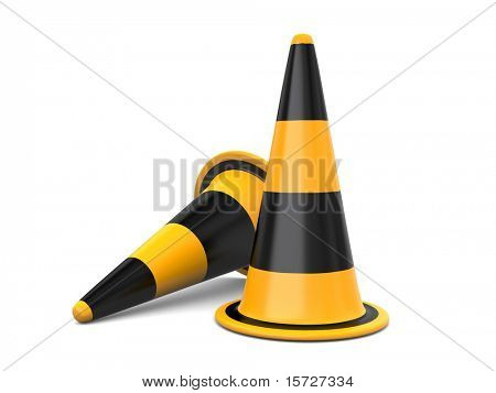 Two Traffic Cones  isolated on white