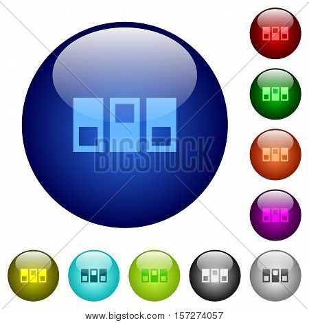 Switchboard icons on round color glass buttons