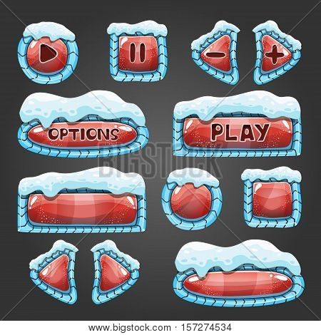 Winter cartoon red buttons with snow. Game interface design