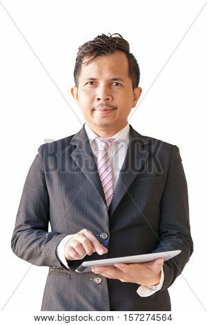 Portrait of businessman 30-40 years old use digital tablet on with background Have clipping paths.