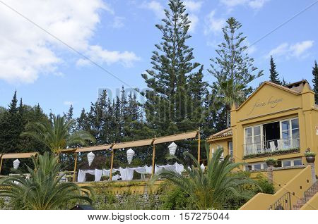 MARBELLA, SPAIN - MAY14, 2016: Exterior of Restaurant in Marbella Spain