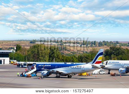 Chisinau Moldova - September 27 2016: The Air Moldova aircraft on the runway of the international airport