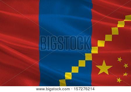 Flag of Inner Mongolia officially Inner Mongolia Autonomous Region or Nei Mongol Autonomous Region of China. 3d illustration