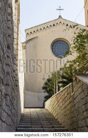Cagliari: exterior architecture of the church of Santa Eulalia, in the district of La Marina - Sardinia