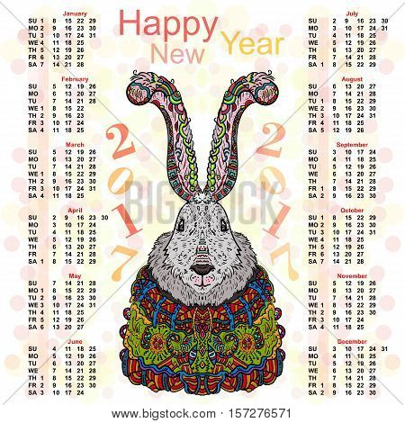 The annual calendar. Christmas rabbit in bright colorful costumes.
