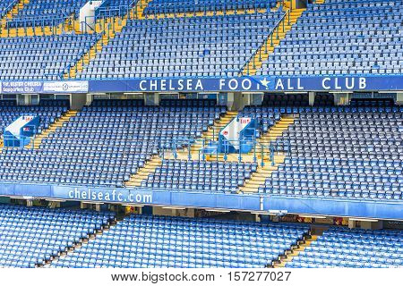 London, the UK - May 2016: at the tribunes of Stamford Bridge  stadium - the official playground  of FC Chelsea