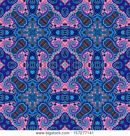 Detailed Floral And Paisley Seamless Square Pattern. Vector Medieval Background. Bandana Print. Love