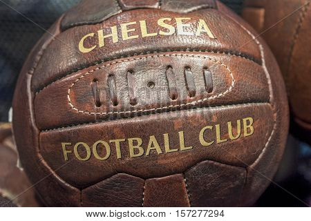 London, the UK - May 2016: FC Chelsea leather ball in the official club museum