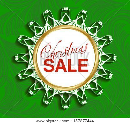 Design template Christmas sale. Holiday round frame-snowflake for text in on green background. Vector illustration