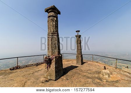 Pillars at the Shivagange temple situated in the top of the hill taken on November 11, 2016 at Dabaspet, Tumkur District, Karnataka