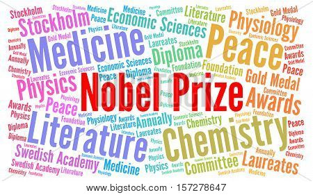 Nobel prize word cloud concept illustration with a white background