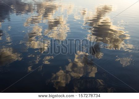 Water is reflecting the sky like a mirror