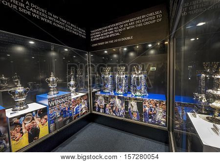 London, the UK - May 2016: At the exposition of FC Chelsea museum