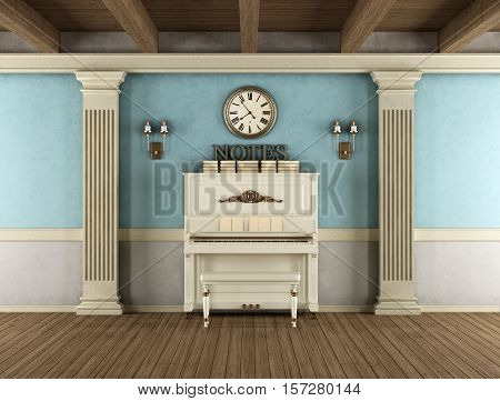 Vintage Interior With Upright Piano