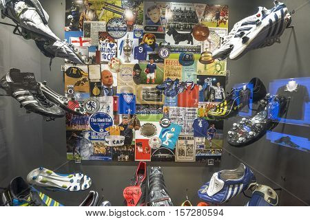 London, the UK - May 2016: footwear stand in FC Chelsea museum