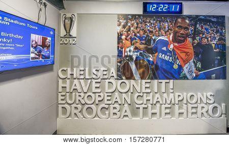 London, the UK - May 2016: Visiting FC Chelsea museum