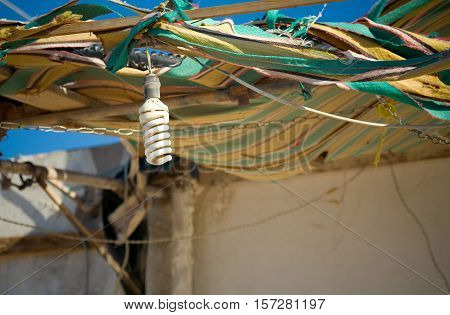 Electric lamp in the house of the Bedouin. Dahab, Egypt, Red Sea.