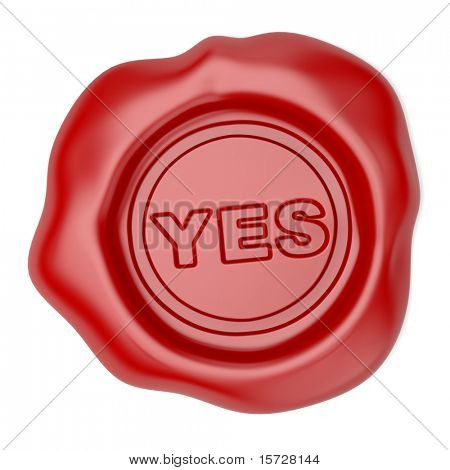Confirmed. Wax seal with YES text