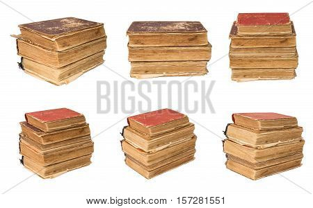 Set of old torn book isolated on white background. Vintage Book photographed from various angles. Tattered book.